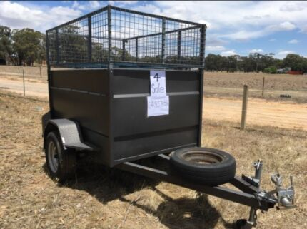 6x4 trailer full steel lockup with cage