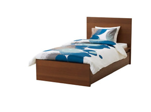 MALM single bed with 2 storage boxes