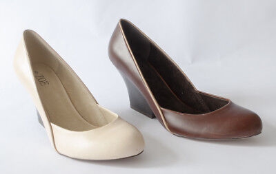 New Ladies Brown Wedge Heel - Brand New Zoe Womens Ladies Wedge Heel Court Shoes Brown Or Cream