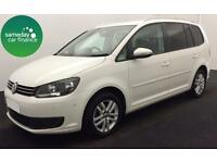 ONLY £235.39 PER MONTH WHITE 2012 VW TOURAN 1.6 SE DIESEL MANUAL 7 SEATER