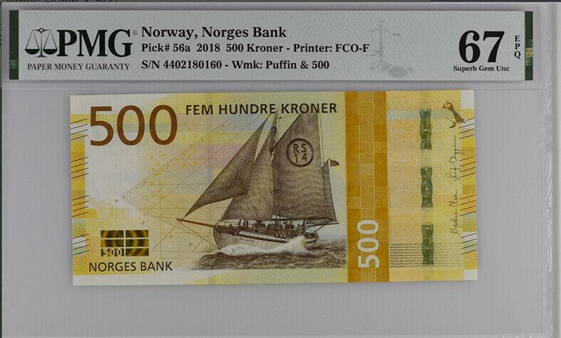 NORWAY 500 KRONER 2018 P 56 SUPERB GEM UNC PMG 67 EPQ NEW LABEL