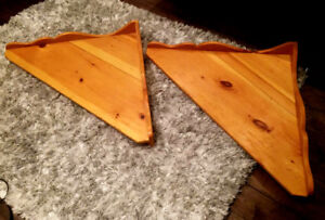 Two Large Solid Wood Corner Shelves$15 eachAll good condi