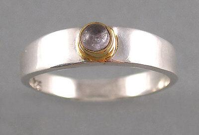 elegant little sterling silver 24k gold vermeil hackmanite ring 5, 6, 7, or 8