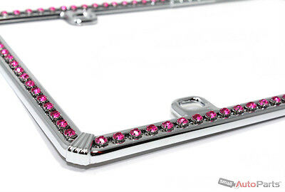 Chrome Pink Diamond Bling License Plate Frame