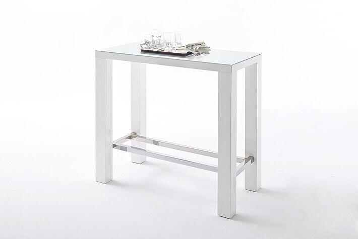 MCA Jam Bartisch JAM12HWW 120x60 cm Hochglanz weiß lackeirt mit Glasplatte