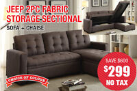 Jeep 2pc Fabric Storage Sectional, $299 Tax Included!!!