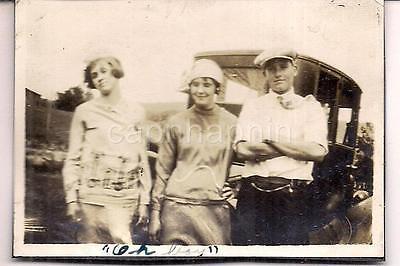 Flapper Style Fashion Teen Girls Tam Cap Boy By Antique Car Vintage 1920s - Flapper Boy