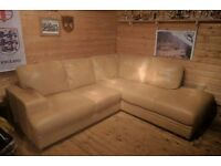 LEFT HAND LEATHER CORNER SOFA: colour is SAND.. measurements- 45Inches deep.. by 90inches X 90inches