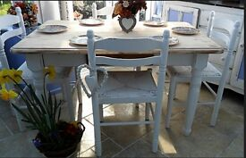 Shabby chic, 4 ft pine table and 4 x pine chairs