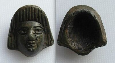 Roman Bronze Applique With Facing Head Wearing High Headress - Roman Head Wear