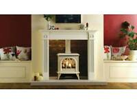 Wood burner look,Gas fire,similar to picture but in dark red ennamel