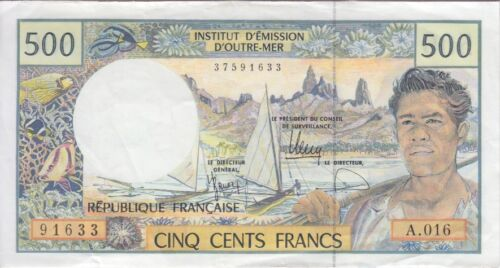 French Pacific Banknote P1g, 500 Francs Sig 12 Alphabet A.016