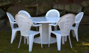 Fibreglass Patio Table and 6 Resin Chairs