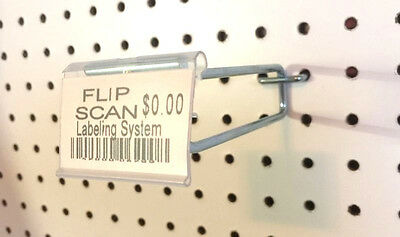 "(1000 PACK) 8"" Flip Scan Metal Peg Hooks w/Label Holder For 3/16 & 1/4"" Pegboard"