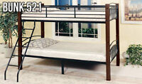 Wood and Metal Bunk Bed – Twin Over Twin (Bunk 521) *SALE*