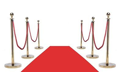 VIP RED CARPET COMBO SPECIAL (6-GOLD POSTS + 4-ROPES + 1-3'X10' RED CARPET) - Red Carpet Ropes