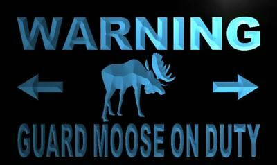 Moose Warning Sign - m763-b Warning Guard Moose on Duty Neon Light Sign