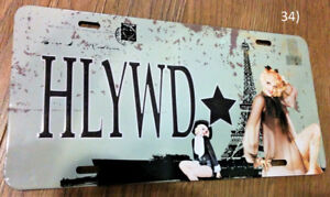 "Hollywood ""HLYWD"" Eiffel Tower Postcard Metal License Plate Sign"