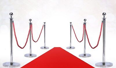 VIP RED CARPET COMBO (6 MIRROR POSTS DOMED BASE + 4 ROPES + 3'X10' RED CARPET) - Red Carpet Ropes