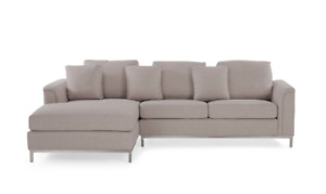 Modern Beige Sectional Sofa with Right Or Left Facing Chaise