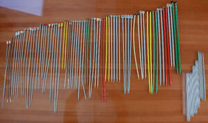 Stack of VINTAGE Knitting and Crochet needles - All sizes/brands