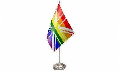 Arcoiris Union Jack Satén Bandera (22.9cm x 15.2cm) Con Base de Cromo...