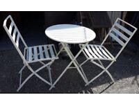 Very Chic Metal Bistro Café Garden Or Patio Set Of Folding Table And Two Chairs