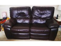 Double electric reclining sofa- black leather 2 seater