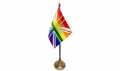 Paquete De 12 Arcoiris Union Jack 15.2cm x 10.2cm Escritorio Mesa Flags...