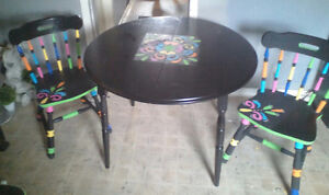 One of a kind dining table and 4 chairs $120 obo