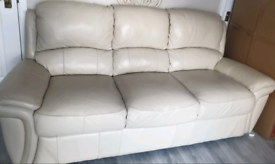 Real leather cream 3 and 2 seater sofas