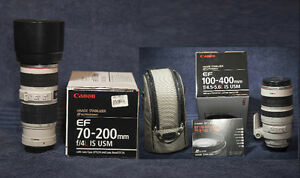 Canon 70-200F4 L IS  and 100-400F4.5-F5.6L IS lenses