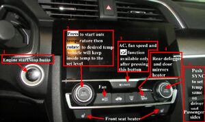 Honda Civic simplified operating manual with labelled photos