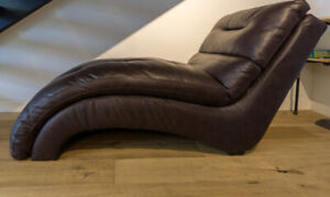 BROWN LEATHER CHAISE - NEW CONDITION