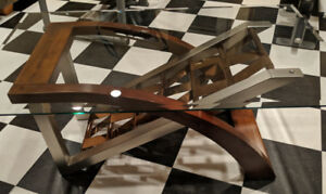 Beautiful Metal Wood and Glass Coffee Table