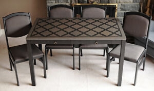 Chic Moroccan Stenciled Dining Set with 4 Upholstered Chairs