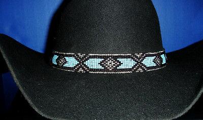 Western Equestrian Decor Cowboy/Cowgirl Blue/Black Beaded HAT BAND W/Two Tassels