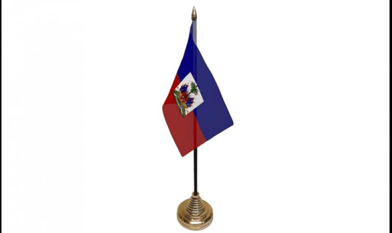 """Wholesale Lot of 6 Haiti 4/""""x6/"""" Desk Table Stick Flag"""