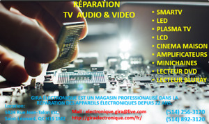 REPARATION TV AUDIO VIDEO. SMARTV PLASMA LCD LED SYSTEME DE SON