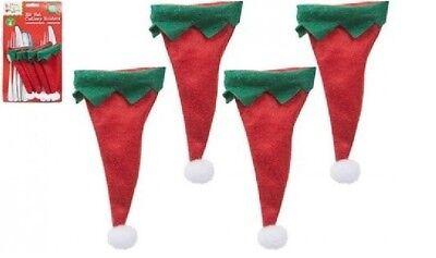 Buy Elf Hat (4 Elf Hat Cutlery Holders Christmas Fork Spoon Table Decoration BUY 1 GET 1)
