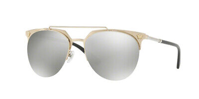 NWT Versace VE 2181 Sunglasses 12526G 57 MM Pale Gold / GREY MIRROR SILVER