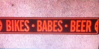 """Bikes Babes Beer"" New 6x36"" Embossed METAL ""Garage Decor"" Sign"