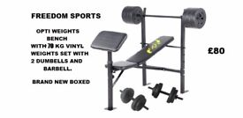 Opti Bench with 70kg vinyl Weights 2 dumbells 1 barbell brand new boxed FREE DELIVERY WITHIN 7MILES