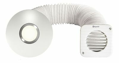 Xpelair Illumi Shower Inline Extractor Fan with LED Light - Full Kit - Round