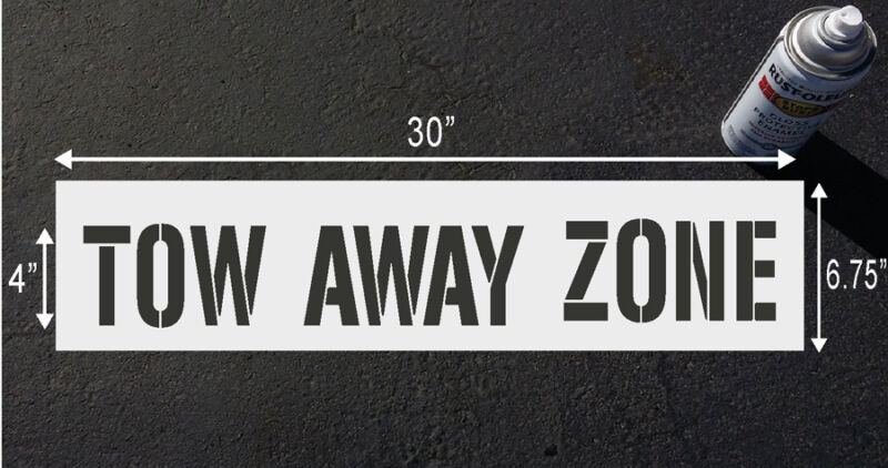"""TOW AWAY ZONE, 4"""" Stencil for Parking lot & curb block"""