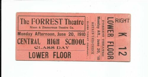 1910 The Forrest Theatre (Philadelphia, Pa.) Ticket