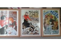 Set of 3 French style poster art prints