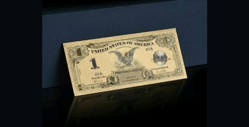 "☆GEM☆1899 ""GOLD""$1 SILVER☆CERTIFICATE BLACK EAGLE  Rep.*Banknote ~STUNNING☆ qqq"