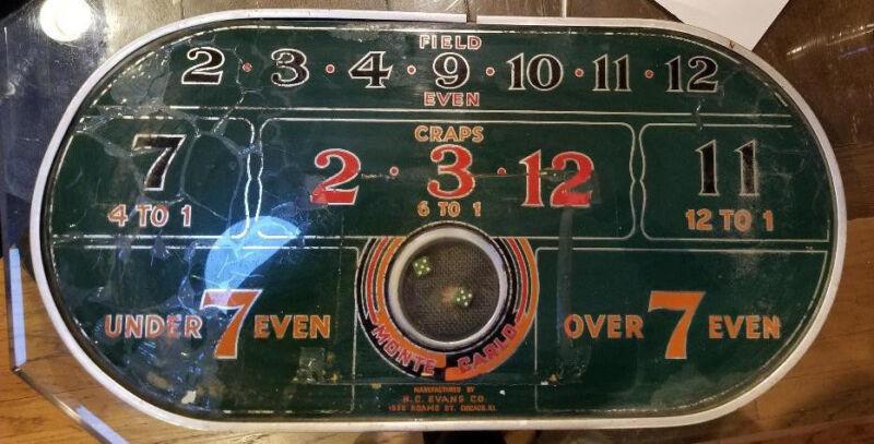 Monte Carlo Game by H.C. Evans Co, Casino Trade Stimulator, Gambling, Dice Game