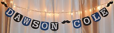 Royal Themed Baby Shower (its a boy custom mustache theme royal blue/black baby shower hanging )
